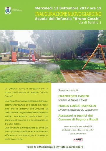 Mercoled 13 settembre inaugurazione del nuovo giardino attrezzato della scuola bruno cocchi - Sindaco bagno a ripoli ...