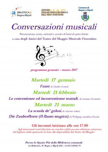 Conversazioni musicali in Biblioteca Comunale: 17 gennaio, 21 febbraio, 21 marzo 2017