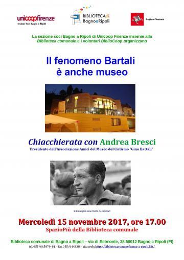 """Andrea Bresci con il """"suo"""" Gino Bartali in Biblioteca mercoledì 15 novembre"""