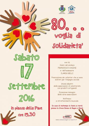 80 voglia di solidarietà: appuntamento sabato 17 settembre, ore 15.30