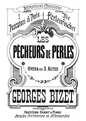 Lo spartito dei 'Pescatori di perle' di Bizet