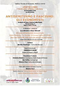 """Oratorio di Santa Caterina delle Ruote, 30 novembre 2016, h 19-21: """"Antisemitismo e fascismo: gli economisti"""""""