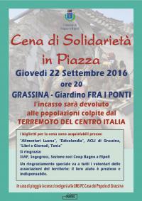 Cena di Solidarietà a Grassina il 22 settembre