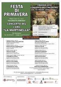 Festa della Primavera al Convento dell'Incontro, il 1° Maggio con il Coro della Martinella