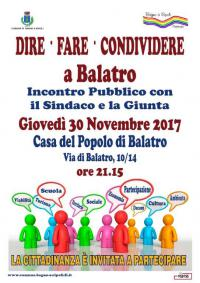 """Dire Fare Condividere"""", giovedì 30 novembre assemblea pubblica a Balatro"""