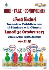 La giunta incontra i cittadini, lunedì 30 ottobre assemblea pubblica a Ponte Niccheri