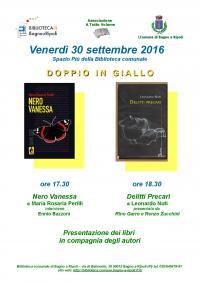 """A tutto volume: il 30 settembre """"Doppio in giallo"""". Presentazione dei libri Nero Vanessa e Delitti Precari"""