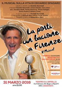 """Teatro Crc Antella, il 31 marzo Rodolfo Banchelli in """"La porti un bacione a Firenze"""", musical su Odoardo Spadaro"""