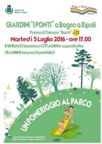 Un pomeriggio al Parco: martedì 5 luglio 2016, ore 17, appuntamento ai Giardini dei Ponti a Bagno a Ripoli/Capoluogo
