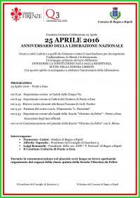71° Liberazione: le iniziative del 25 Aprile 2016